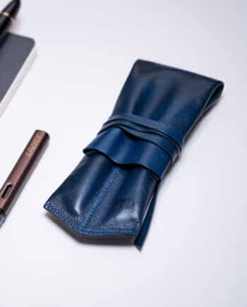 Leather pen pouch - The Emperor - Blue