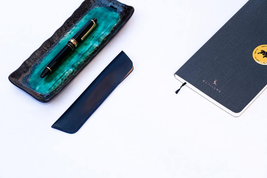 Alice Blue – Leather pen sleeve for one fountain pen